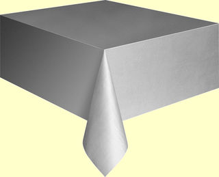 Silver Plastic Table Cover - Single