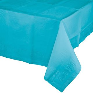 Bermuda Blue Plastic Table Cover -Single