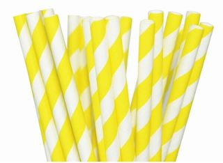 Yellow Striped Paper Straws - 25 Pack