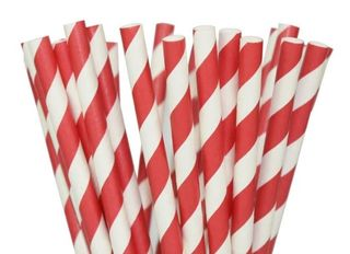 Red Striped Paper Straws - 25 Pack