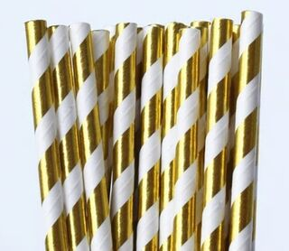 Paper Straw - Gold Metallic Striped - 25 Pack