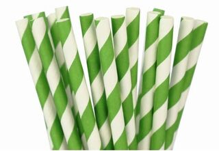 Paper Straw - Green Striped - 25 Pack