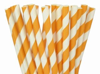 Paper Straw - Orange Striped - 25 Pack