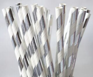 Paper Straw - Silver Metallic Striped - 25 Pack