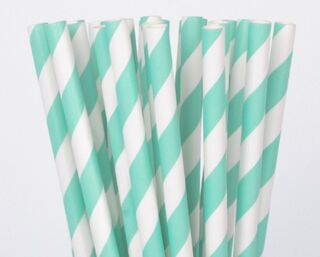 Paper Straw - Light Blue Striped - 25 Pack