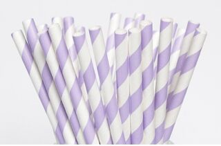 Paper Straw - Purple Striped - 25 Pack