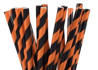 Paper Straw - Black & Orange Striped - 25 Pack