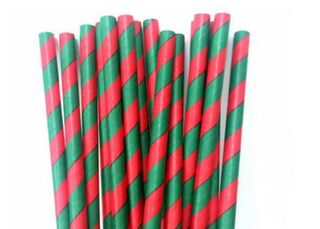 Paper Straw - Red & Green Striped - 25 Pack