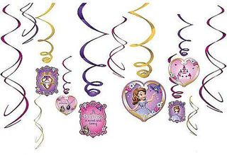 Sofia the First Hanging Swirl Decorations 6 pcs