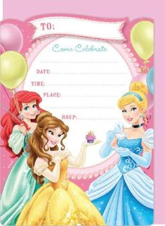 Disney Princess Party Invites - 16 Pack