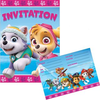 Paw Patrol Girls Invitations - 8 Pack