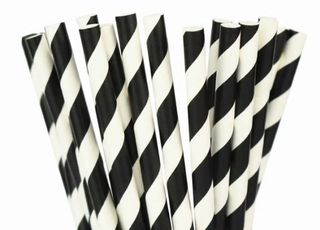 Paper Straw - Black Striped - 25 Pack