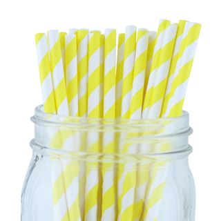 Paper Straw - Yellow Stripped - 25 Pack