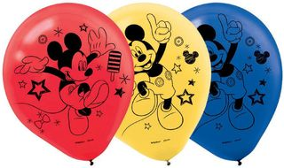 Mickey Mouse Latex Balloons - 6 Pack