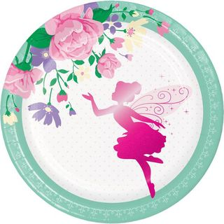 Floral Fairy Sparkle Lunch Plates - 8 Pack