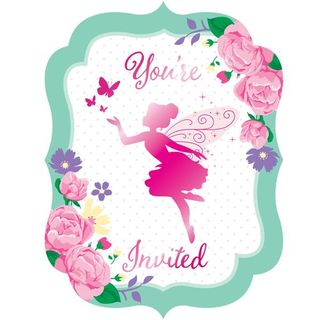 Floral Fairy Sparkle Invitations - 8 Pack