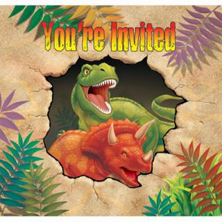 Dino Blast Party Invitations - 8 Pack