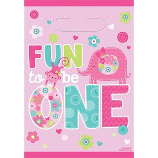 Fun to Be One Loot Bags - Pink - 8 Pack