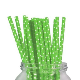 Paper Straws - Green Polka Dot - 20 pack