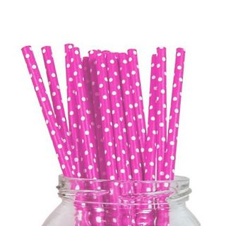 Paper Straw - Pink Polka Dot - 25 Pack