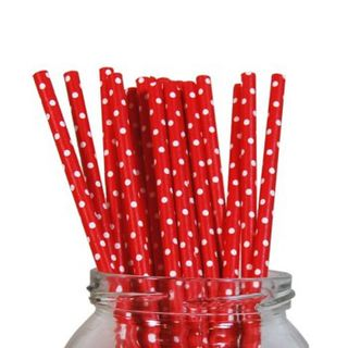 Paper Straw - Red Polka Dot - 20pack