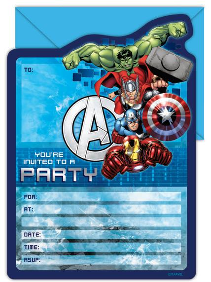 Avengers Party Invites - 16 Pack