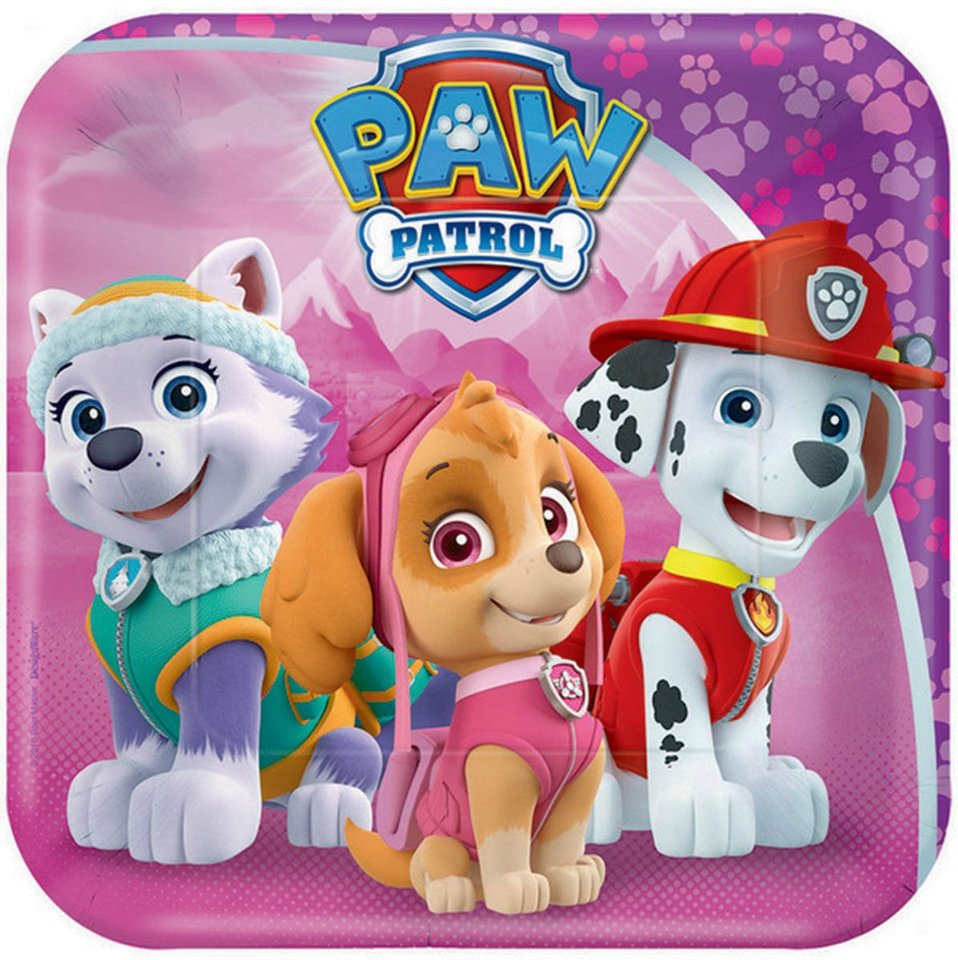 Paw Patrol Girls Lunch Plate - 8 Pack