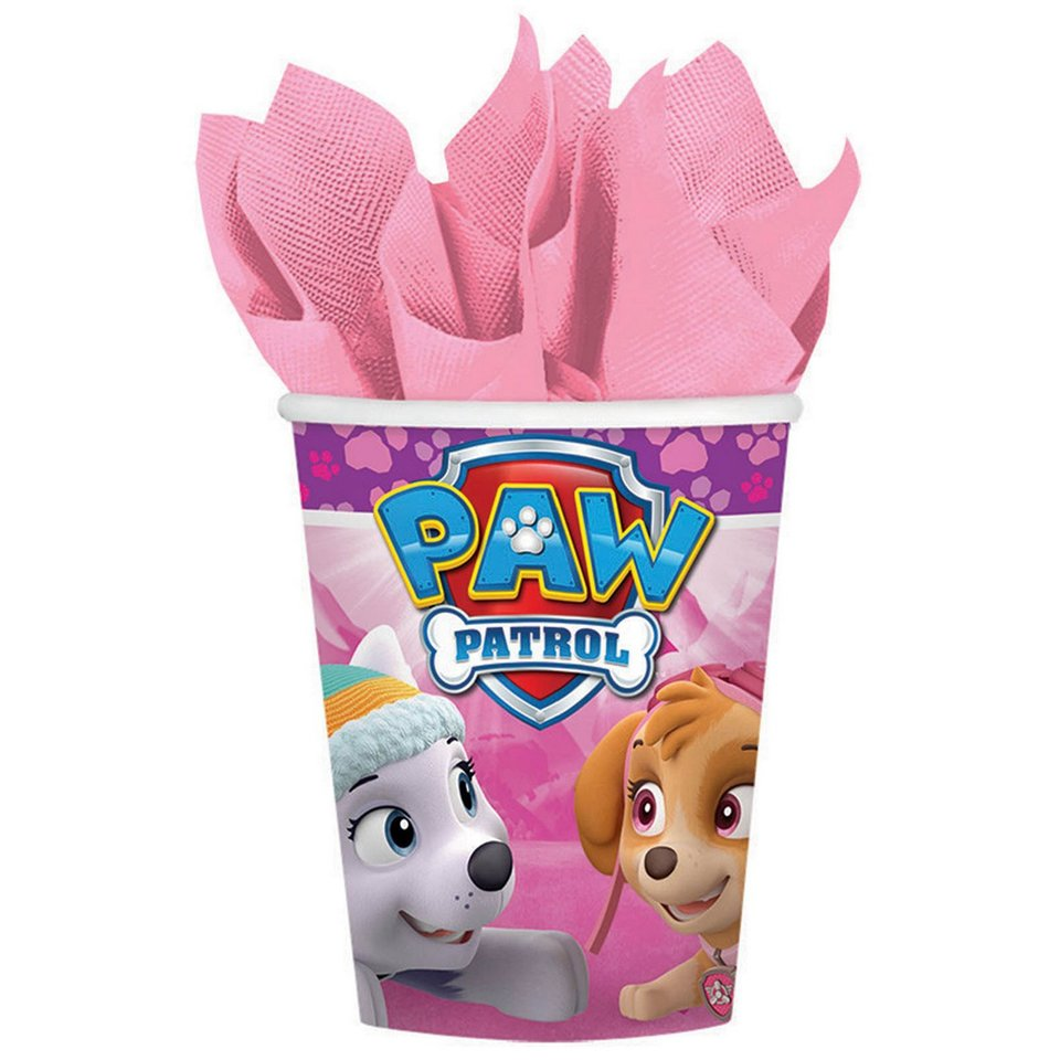 Paw Patrol Girls Pink Party Cups - 8 Pack
