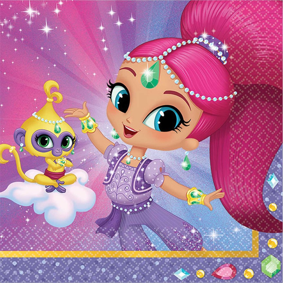 Shimmer and Shine Beverage Napkins -16 Pack