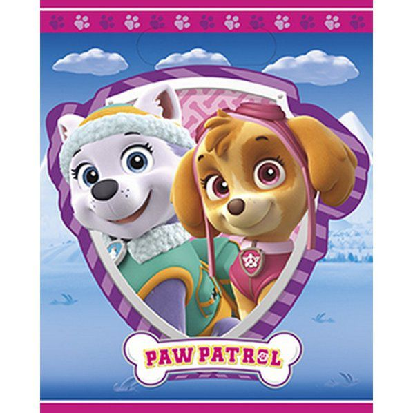 Paw Patrol Girls Favor Loot Bags  - 8 Pack