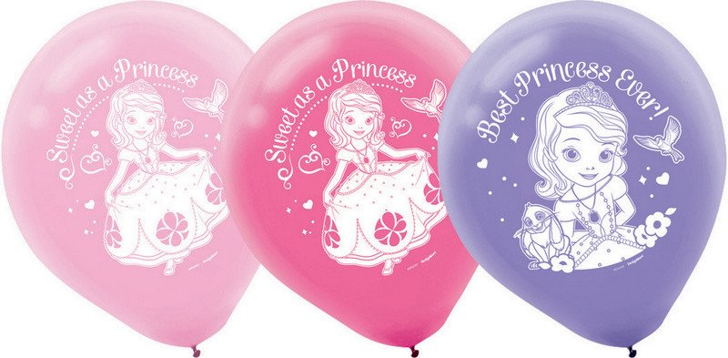 Sofia the First Latex Balloons - 6 Pack