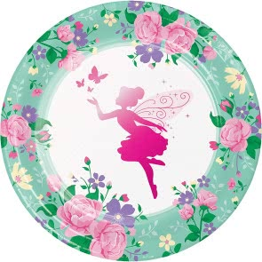 Floral Fairy Sparkle Dinner Plates - 8 Pack