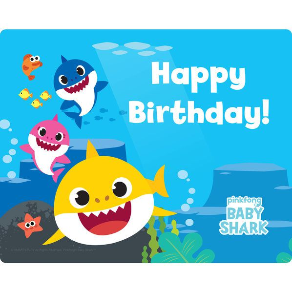 Baby Shark Happy Birthday Stickers -15 Stickers
