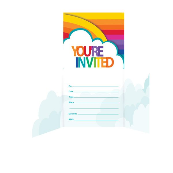 Rainbow Party Invitations - 8 Pack