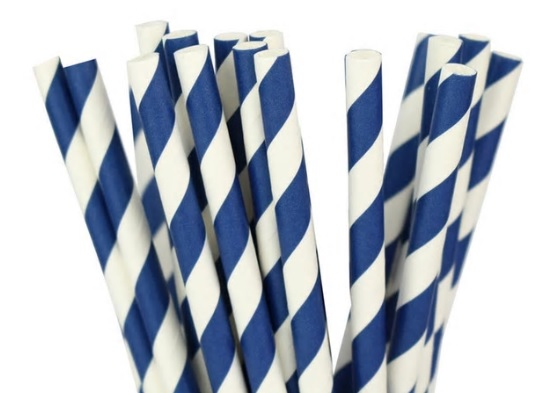 Paper Straw - Navy Stripped - 25 Pack