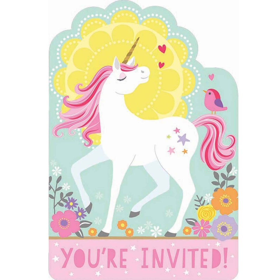 Magical Unicorn Invitation -  8 Pack