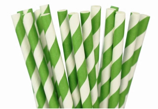 Paper Straw - Green Stripped - 25 Pack