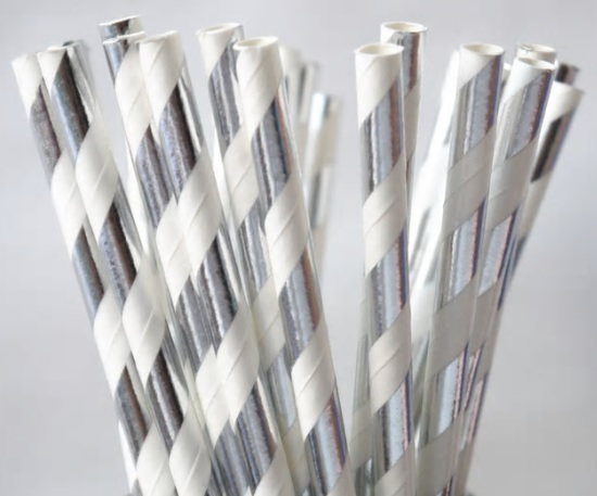 Paper Straw - Silver Metallic Stripped - 25 Pack