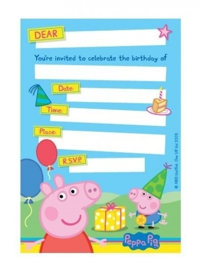 Peppa Pig Party Invitations - 8 Pack