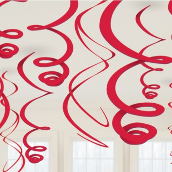 Hanging Swirls Decoration Red