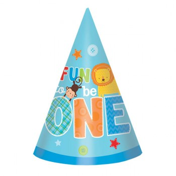 Fun to be One Party Hats - Blue
