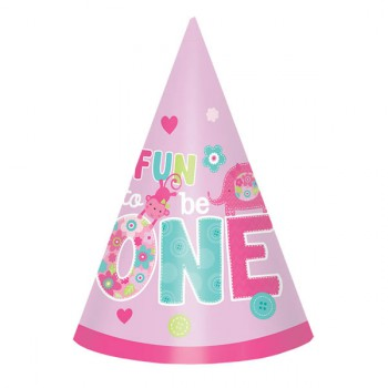Fun to be One Party Hats - Pink - 8 Pack