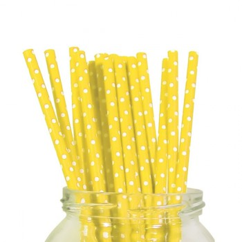 Paper Straw - Yellow Polka Dot -  20 Pack