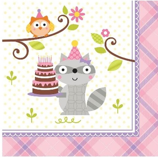 Happi Woodland Napkins - Pink
