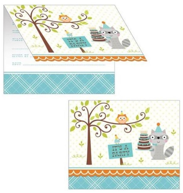 Happi Woodland Invites - Blue