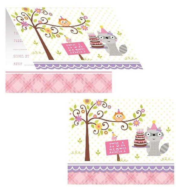 Happi Woodland Invites - Pink